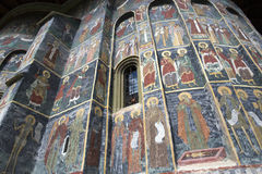 Painting wall at Sucevita monastey, Bucovina country, Romania Stock Photos