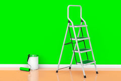 Painting of walls in a green color concept. Paint can with rolle Stock Photography