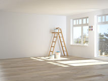 Painting walls in room with ladder during Stock Photo