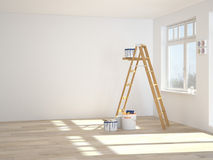 Painting walls in room with ladder during Royalty Free Stock Photo