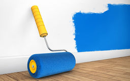 Painting of walls in a room with paint roller. 3d rendering Stock Photos