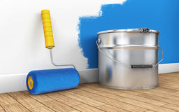 Painting of walls in a room with paint roller. 3d rendering Stock Photo