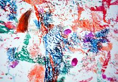 Mix red blue pink paint spots, vivid background, painting abtract colors royalty free stock photography
