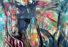 Black blue pink brush strokes, abstract paint and geometries. Painting watercolor acrylic geometries, shades, shapes, colorful geometries. Texture and shades in stock photos