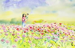 Painting watercolor of daisy flowers and Mother,son. Royalty Free Stock Photography