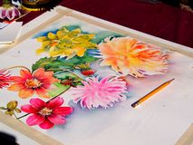 Painting (watercolor) of the flowers in progress. Picture of the watercolor (painting) of the flowers  in progress with pencil Royalty Free Stock Photos