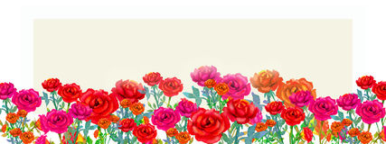 Painting watercolor happy spring, red pink color flowers of roses. vector illustration