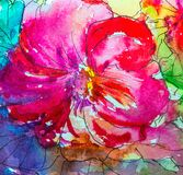 Painting in watercolor, impressionism style, textured painting, flower still life, painting painted with color, painting with stock photo