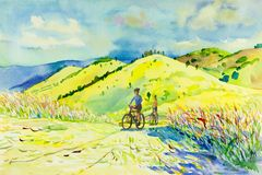 Painting watercolor landscape of mountain hill and man,woman. Painting watercolor landscape original colorful of mountain hill and man,woman,cycling exercise royalty free illustration