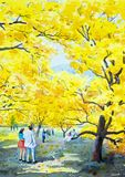 Painting of golden tree flowers,and couple man,woman,family. Painting watercolor landscape original yellow orange color of golden tree flowers,and lovers couple Royalty Free Stock Images