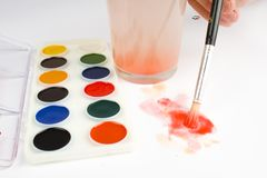 Painting with watercolor paint Royalty Free Stock Photo