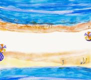 Painting watercolor sea Top view colorful of family holiday. Painting watercolor seascape Top view colorful of lovers, family summer holiday and tourism in Royalty Free Stock Image
