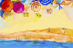 Painting watercolor seascape colorful of lovers, family summer. Royalty Free Stock Photo