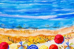 Painting watercolor seascape colorful of lovers, family summer. Royalty Free Stock Images