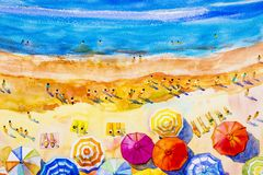 Painting watercolor seascape colorful of lovers, family vacation Royalty Free Stock Photos
