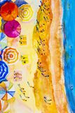 Painting watercolor seascape colorful of lovers, family summer. Royalty Free Stock Photography
