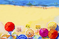 Painting watercolor seascape colorful of lovers, family summer. Stock Photos