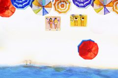 Painting watercolor seascape colorful of lovers, family summer. Stock Image