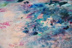 Blue gray pink black soft mix colors, painting spots background, watercolor colorful abstract background. Painting watercolor soft vivid abstract background in stock photo