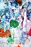 Blue yellow green gray white pink purple soft mix colors, painting spots background, watercolor colorful abstract background. Painting watercolor soft vivid stock image