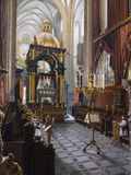Painting of Wawel Cathedral - Krakow - Poland. 'Wawel Royal Cathedral' by Saturnin Swierzynski (1820-85). This painting is in the Gallery of Polish Art on the Royalty Free Stock Images
