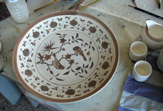 Painting White-and-blue Porcelain. Plate in Jingdezhen, China Royalty Free Stock Photography