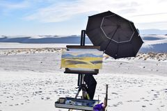 Painting in White Sands Desert, New Mexico, USA stock images