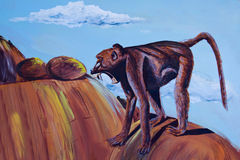 Painting of a wild baboon Royalty Free Stock Photography