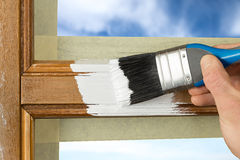 Painting window frame Royalty Free Stock Photo