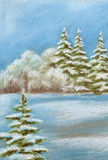 Painting, winter forest Royalty Free Stock Images