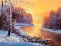 Painting winter forest. Winter landscape with the river.Original oil painting royalty free stock images