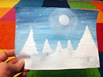 Painting winter landscape with watercolor. I painted a watercolor landscape: Winter night in the woods stock photos