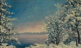Painting of winter morning, beautiful snow tree. Winter sea. Stock Image