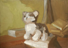 Painting With Toy Cat Stock Photos