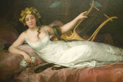 Painting of woman with lute in Museum de Prado, Prado Museum, Madrid, Spain Stock Image