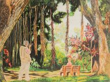 Painting of woman and man photographer in garden Stock Photo