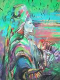 Painting of Woman wearing a head scarf with a look of relish and defiance against an old grunge graffiti painted colorful green an royalty free illustration