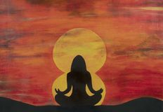 Painting of women silhouette  meditating stock illustration