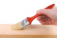 Painting wood surface Royalty Free Stock Image