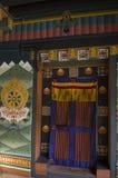 Painting and wood work of door at Tashi Cho Dzong, Thimphu, Bhutan Royalty Free Stock Photos