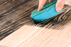 Painting wooden board with a sponge in black color Royalty Free Stock Image