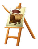 A painting of a wooden carriage Royalty Free Stock Photo