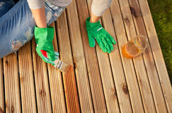 Painting wooden deck Royalty Free Stock Images