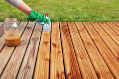 Painting wooden deck Royalty Free Stock Photography