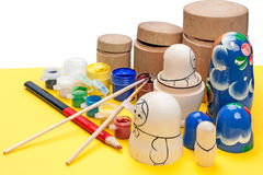 Painting wooden dolls Royalty Free Stock Photo