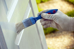Painting wooden door Stock Photo
