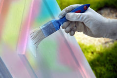 Painting wooden door Stock Photos