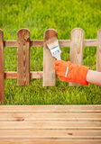 Painting wooden fence Stock Image