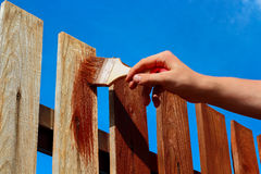 Painting wooden fence Royalty Free Stock Photography