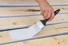 Painting wooden slats Stock Image